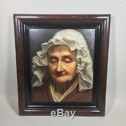 Tableau ancien portrait d'une vieille femme