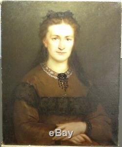 Tableau ancien portrait de femme (HST), Charles Alexandre CRAUK (1819-1905)