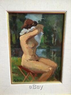 Tableau ancien portrait de femme Nue signé époque Art Déco 1930