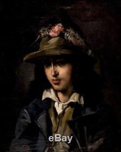 Tableau ancien portrait de jeune homme italien