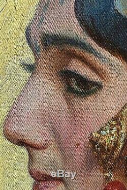 Tableau ancien portrait féminin aux bijoux Orientaliste signé Blancpain fin XIXe