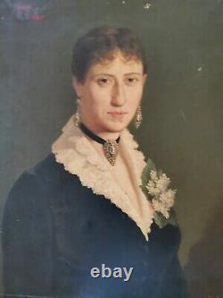 Tableau ancien portrait femme à la robe bleue signé Jules Garipuy époque 19ème