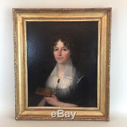 Tableau ancien portrait femme de qualité