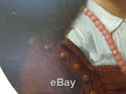 Tableau ancien portrait fille Hippolyte BERTEAUX 1843-1926 peinture signé daté