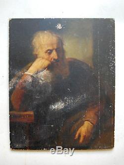 Tableau ancien, portrait, huile sur panneau, peinture allemande