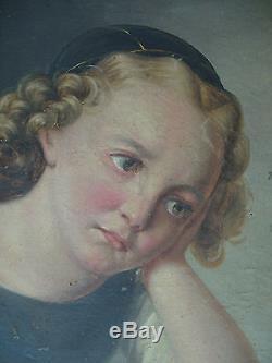 Tableau ancien portrait jeune fille qui pleure 1837 huile toile oil girl superbe
