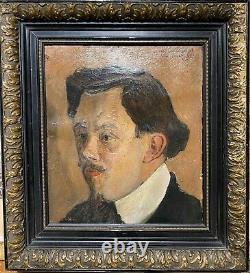 Tableau ancien portrait nabi -Georges Gublin (1873-1909) Rare Portrait d'Homme D