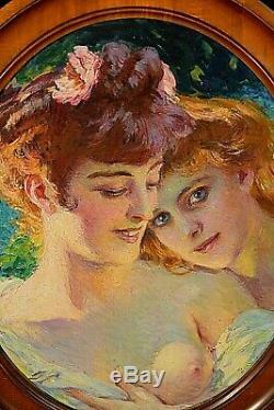 Tableau ancien portraits de femmes allégorie signé Paul Gervais (1859-1944) Rare