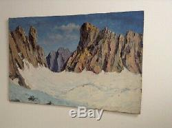 Tableau ancien proche Joseph Victor COMMUNAL Montagne Mer de Glace Alpes Huile