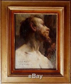 Tableau ancien rare portrait académique d'un jeune homme nu et barbu