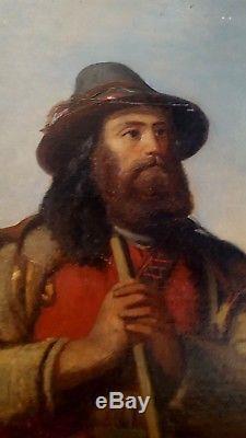 Tableau ancien rare portrait d'un jeune pâtre barbu école italienne ou corse