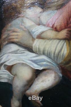 Tableau ancien religieuse Vierge à l'enfant Ecole italienne Anonyme XVIIème