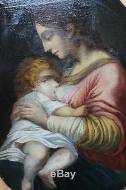 Tableau ancien religieux Vierge à l'enfant Ecole italienne Anonyme XVIIème