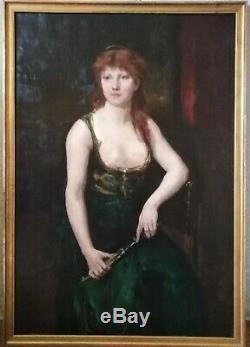 Tableau ancien religieux symboliste Judith Holopherne orientaliste portrait