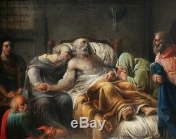 Tableau ancien scène Antiquité mort Socrate philosophe XVIIIème 18ème siècle art