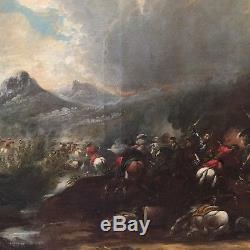 Tableau ancien scène de bataille XVIIIème