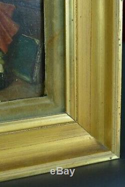 Tableau ancien scène de genre Portrait La confidence Ernest Meissonier 19ème