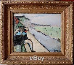 Tableau ancien signé CROBEL la plage de Fécamp huile impressionniste
