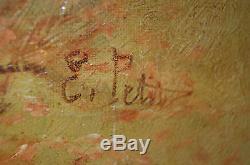 Tableau ancien signé E. PETIT chiens de chasse Ecole de Barbizon