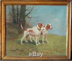 Tableau ancien signé E. PETIT chiens de chasse Toile BARBIZON