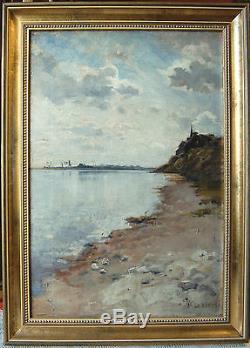 Tableau ancien signé M. LELIEVRE bords de Loire Huile sur toile XIX°