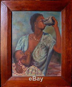 Tableau ancien signé RANJATO femme d'Afrique ORIENTALISME AFRICANISME