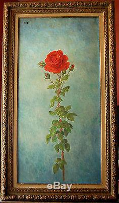 Tableau ancien signé RASKY Rose grande toile datée 1968
