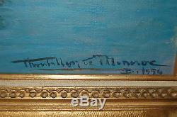 Tableau ancien signé Thoubillon de Moncroc bateaux / port d'Alger ORIENTALISME