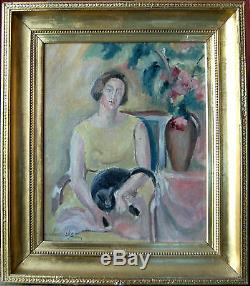 Tableau ancien signé femme avec chat huile sur toile ECOLE RUSSE