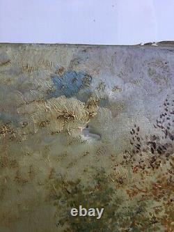 Tableau ancien signé A-M Le Petit, Huile sur toile à restaurer, Fin XIXe déb XXe