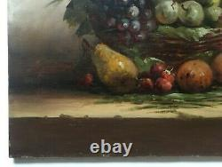 Tableau ancien signé Bargot, Huile sur toile, Nature morte aux fruits, Début XXe