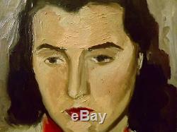 Tableau ancien signé Benjamin VAUTIER. Paysage/femme. Huile/p H 42x32 cm SWISS