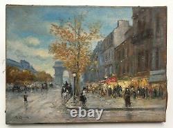 Tableau ancien signé G. Roux, Huile sur toile, Champs Elysées, Début XXe