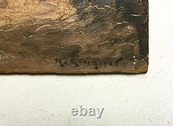 Tableau ancien signé, Huile sur carton, Bretagne, Port animé, Fin XIXe
