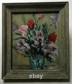 Tableau ancien signé, Huile sur panneau, Nature morte, Fleurs, Milieu XXe