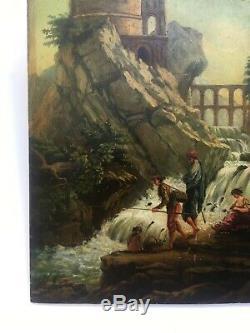 Tableau ancien signé, Huile sur panneau, Paysage animé, Ruines romaines XIXe