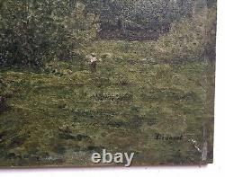 Tableau ancien signé, Huile sur plaque de terre cuite, Paysage animé, Début XXe