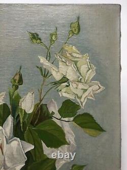 Tableau ancien signé, Huile sur toile, Nature morte, Roses blanches, Début XXe