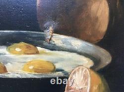 Tableau ancien signé, Huile sur toile, Nature morte aux oeufs au plat, Fin XIXe