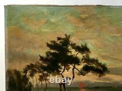 Tableau ancien signé, Huile sur toile, Paysage côtier du Sud-Ouest, Dune, XIXe