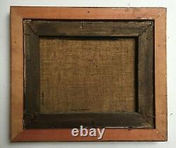 Tableau ancien signé, Huile sur toile, Péniche à quai, Encadré, XIXe
