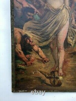 Tableau ancien signé, Huile sur toile marouflée, Allégorie de la fortune, XIXe