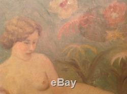 Tableau ancien signé M. VILLA Nu feminin décor fleurs huile toile Art Nouveau