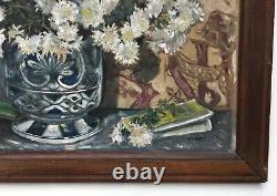 Tableau ancien signé Marty, Huile sur toile, Bouquet de fleurs, Début XXe