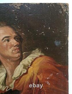 Tableau ancien signé, Portrait d'après Fragonard, Huile sur isorel, XXe