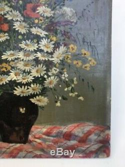 Tableau ancien signé Seevagen, Huile sur toile marouflée sur carton, Fleurs