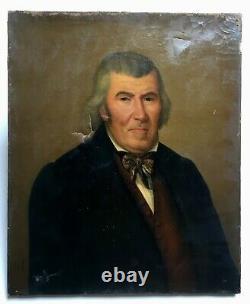 Tableau ancien signé Vandel, Daté 1842, Huile sur toile, Portrait d'homme, XIXe