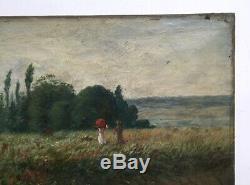 Tableau ancien signé Vogt, huile sur toile, paysage impressionniste, XIXe