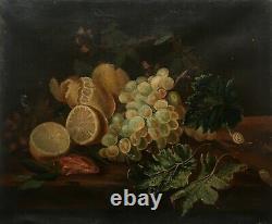 Tableau ancien signé et daté 1862, HST, Nature morte, Fruits et escargots, XIXe