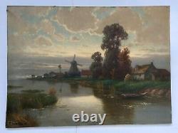 Tableau ancien signé et daté 29, Huile sur toile, Paysage, Flandres, Moulin, XXe
